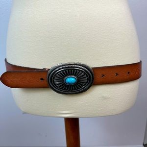 AEO Leather belt with silver and turquoise buckle